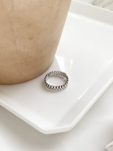 Sterling Silver geometric N free size Ring
