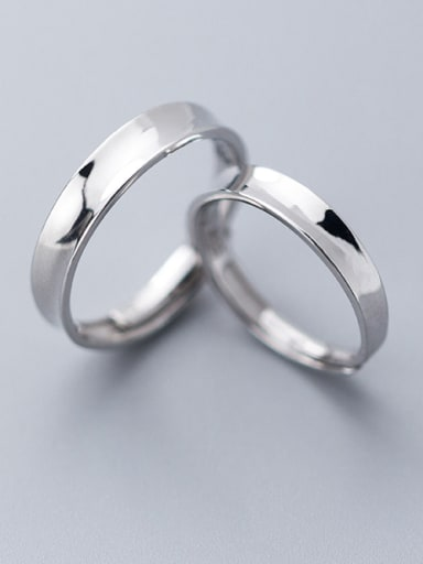 925 Sterling Silver With Platinum Plated Simplistic Round Engagement Free Size Rings