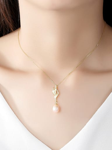925 Sterling Silver With Artificial Pearl Simplistic Little bird Necklaces