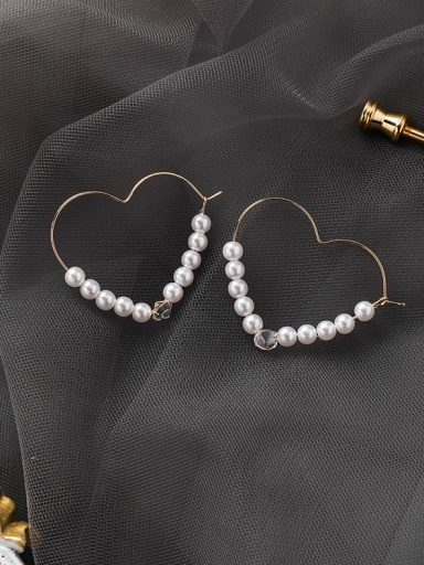 Alloy With Gold Plated Cute Heart Hoop Earrings