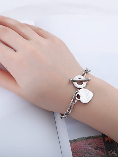 Stainless Steel With Rose Gold Plated Classic Heart Bracelets