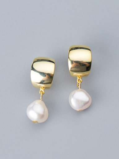 925 Sterling Silver With Artificial Pearl  Simplistic Round Drop Earrings