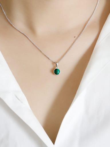 Sterling silver crystal agate geometry semi-precious stones pendant
