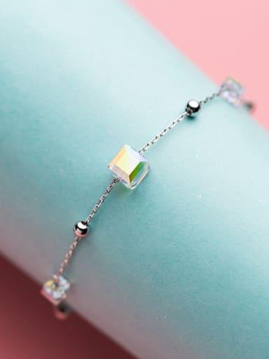 Elegant Adjustable Square Shaped S925 Silver Bracelet