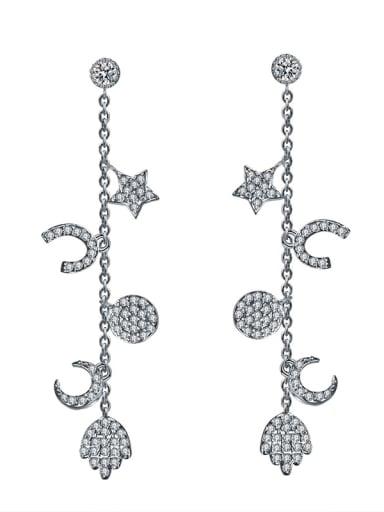 New fashion slim star moon long tassel earrings