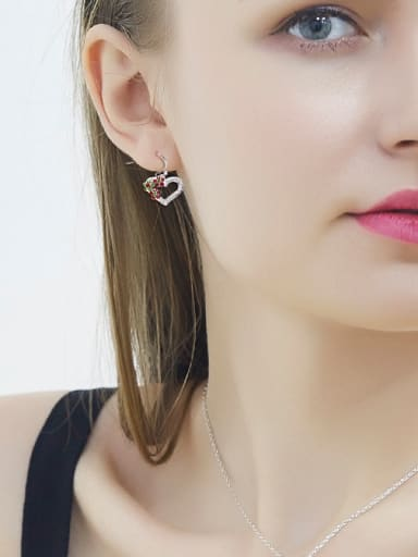 Heart-shaped Crystal hook earring
