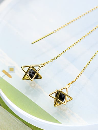 Trendy Gold Plated Star Shaped Black Zircon Line Earrings