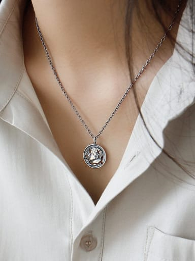925 Sterling Silver With Antique Silver Plated Vintage Portrait Coin Double Sided Tag  Necklaces