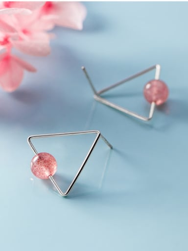 925 Sterling Silver With Rose Gold Plated Simplistic Triangle Stud Earrings