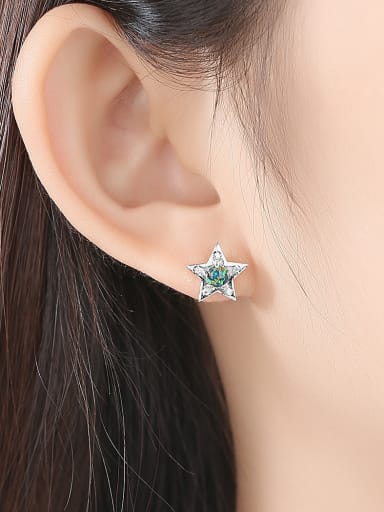 925 Sterling Silver With  Opal Cute Star  Moon Asymmetry  Stud Earrings