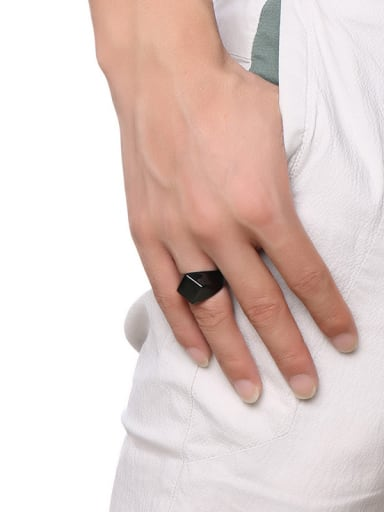 Personality Black Gun Plated Diamond Shaped Titanium Ring