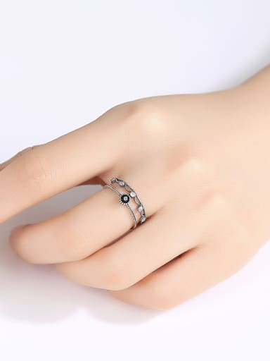 Thai Silver With Gun Plated Vintage Irregular Free Size  Rings
