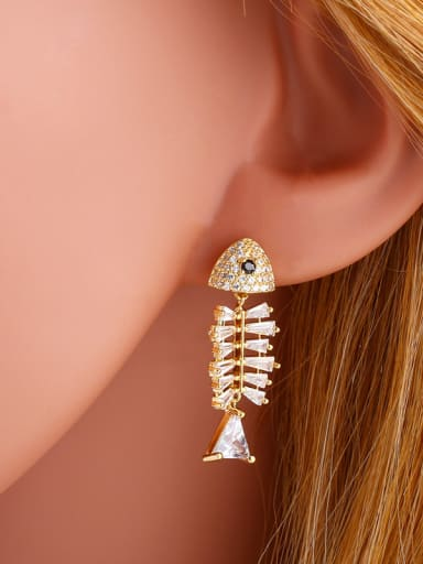 Copper With Cubic Zirconia Cute fish Stud Earrings