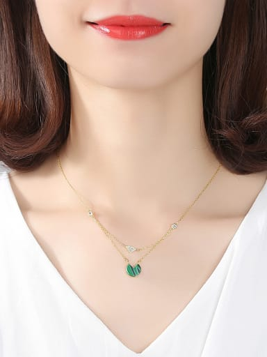 Sterling silver turquoise zircon necklace