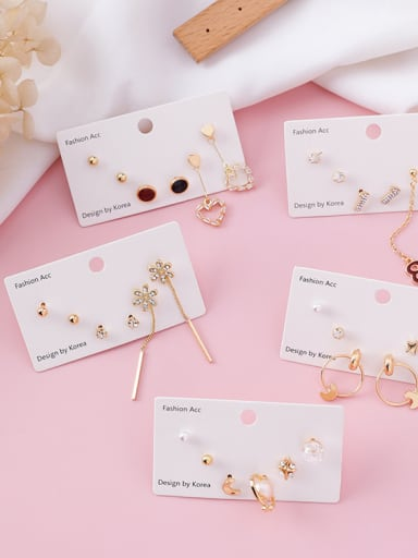 Alloy With Gold Plated Trendy Flower Geometry Mini 6-piece earrings