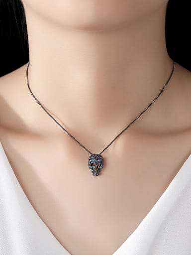 Copper With  Rhinestone  Vintage Skull Necklaces