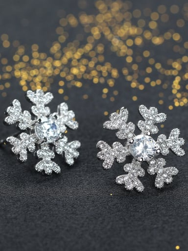 Micro Pave Zircons Snowflake Stud Earrings