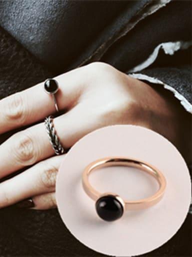 Black Agate Simple Titanium Ring