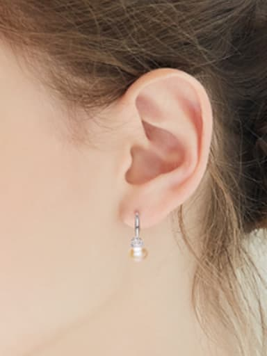 Simple Tiny Crown Freshwater Pearl Silver Earrings
