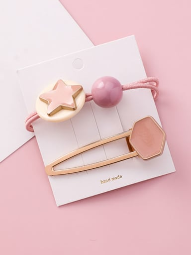 Alloy With Rose Gold Plated Fashion Pentagram Candy-colored rubber band Hair clip two-piece