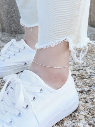 925 Sterling Silver With Minimalism Trendy Anklets