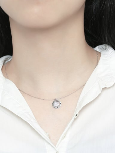 925 Sterling Silver With  Cubic Zirconia Personality Concentric round  Necklaces
