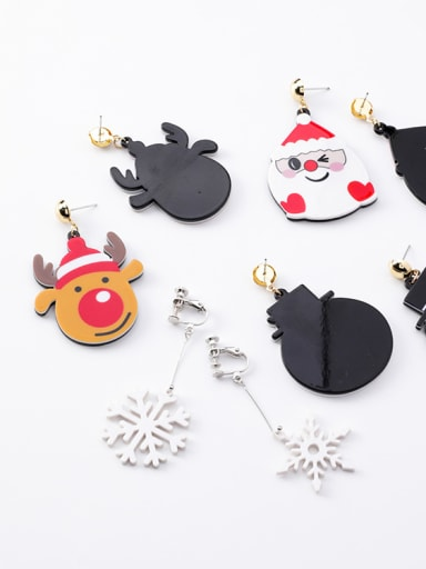 Alloy With White Gold Plated Cute Acrylic chrismas Earrings