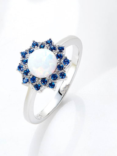 Fashion Opal stone Cubic Zirconias Flowery 925 Silver Ring