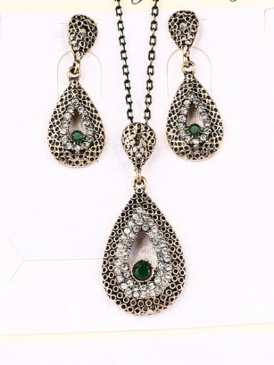 Retro style Resin stone Cubic Rhinestones Alloy Two Pieces Jewelry Set