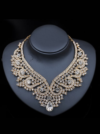 2018 Exaggerated Cubic Glass Rhinestones Two Pieces Jewelry Set