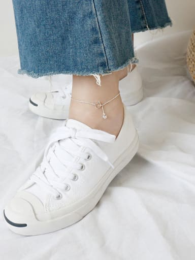 925 Sterling Silver With Silver Plated Cute Cat&bell  Anklets