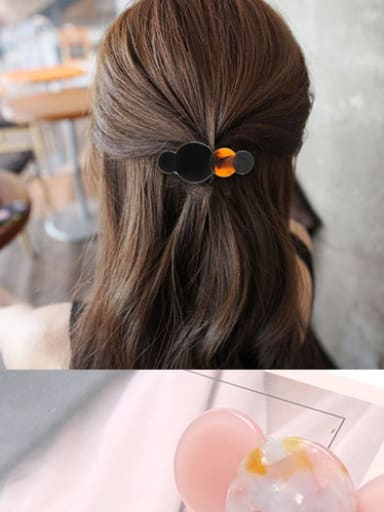 Alloy With Alloy +Cellulose Acetate Fashion Round Barrettes & Clips