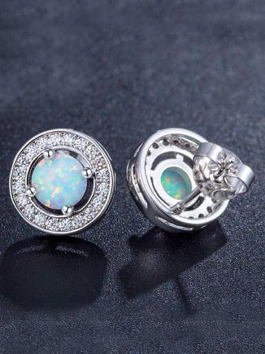 Round Opal Stone stud Earring