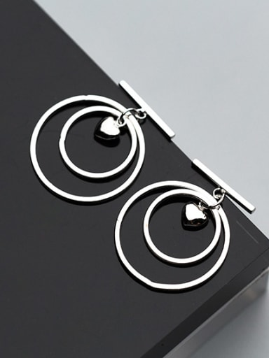 Elegant Double Round Heart Shaped S925 Silver Drop Earrings
