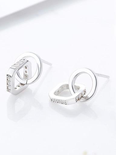 Fashion Shiny Cubic Zirconias 925 Silver Stud Earrings