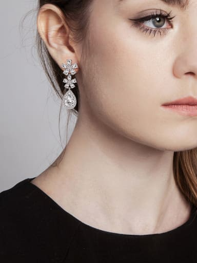 Copper With Platinum Plated Delicate Flower Drop Earrings