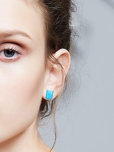 Simple Rectangular Opal stone 925 Silver Stud Earrings