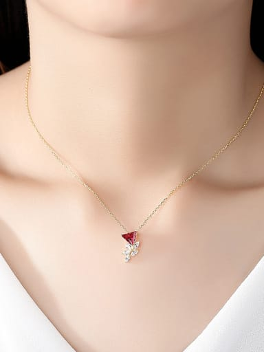 925 Sterling Silver With Gold Plated Personality Triangle Necklaces
