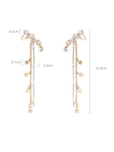 Alloy With Imitation Gold Plated Pentagram   Flow Comb Drop Earrings