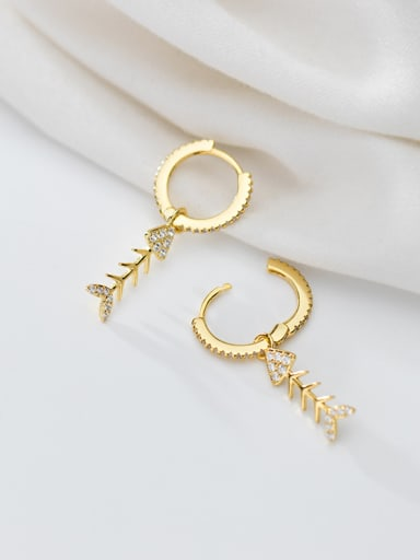 925 Sterling Silver With Gold Plated Cute Fish Bones Clip On Earrings