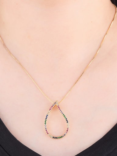 Copper With Cubic Zirconia Classic Water Drop Necklaces