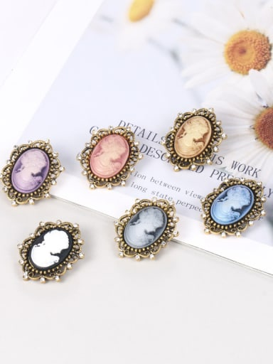 Alloy With Antique Copper Plated Vintage Beauty Head Brooches