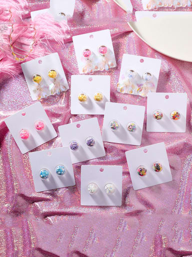Alloy With Platinum Plated Cute Colorful Sequins transparent Ball Drop Earrings