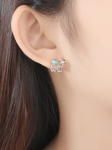 925 Sterling Silver WithTurquoise Cute Animal Elephant Stud Earrings
