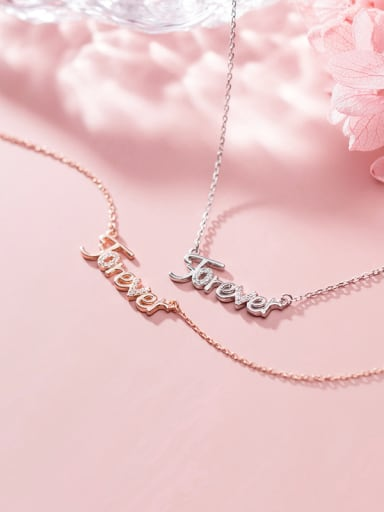 925 Sterling Silver With Cubic Zirconia Simplistic Monogrammed Necklaces