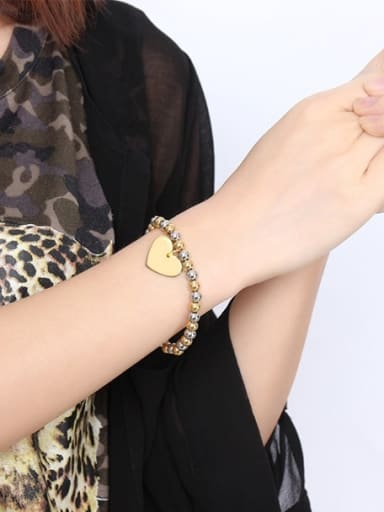 Exquisite Gold Plated Heart Shaped Titanium Bracelet