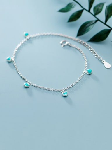 925 Sterling Silver With Platinum Plated Cute Heart Bracelets