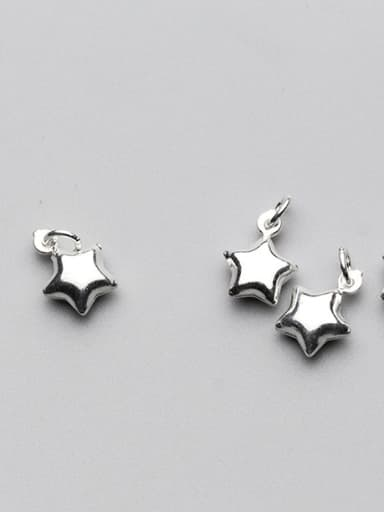 925 Sterling Silver With Rhodium Plated Simplistic Star Charms
