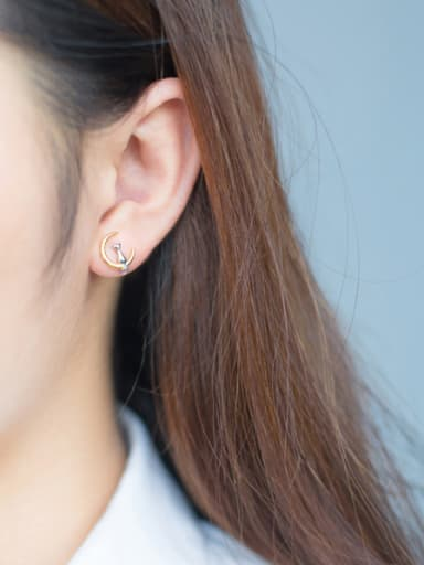 Lovely Gold Plated Moon And Cat Shaped S925 Silver Stud Earrings