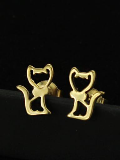 Cartoon Cat Shaped Gold Plated Titanium Stud Earrings